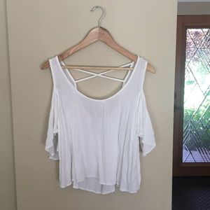 Lovers + Friends white open shoulder top